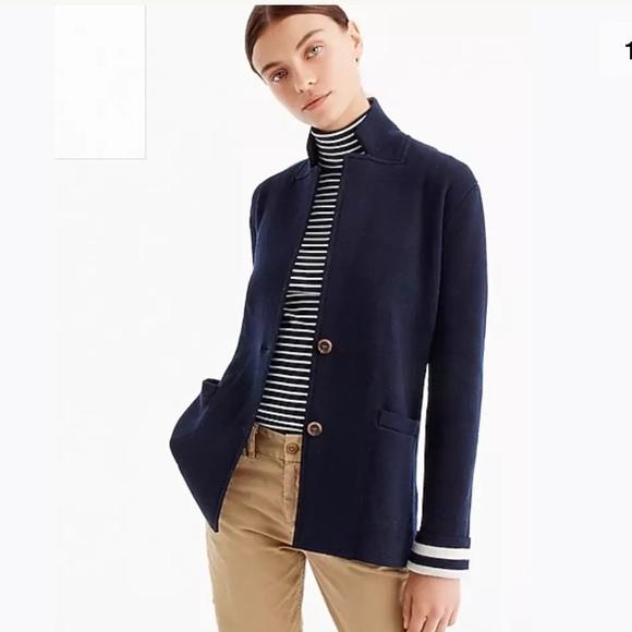 01d4bc7e5a7df JCrew merino wool sweater blazer stripped lining S